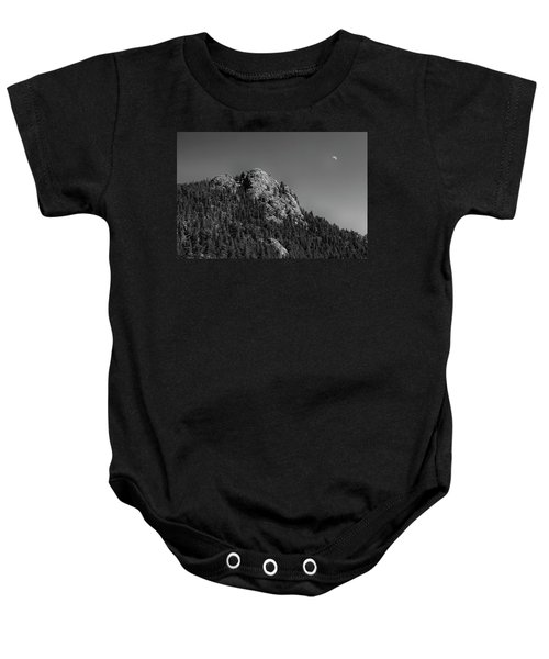 Baby Onesie featuring the photograph Crescent Moon And Buffalo Rock by James BO Insogna