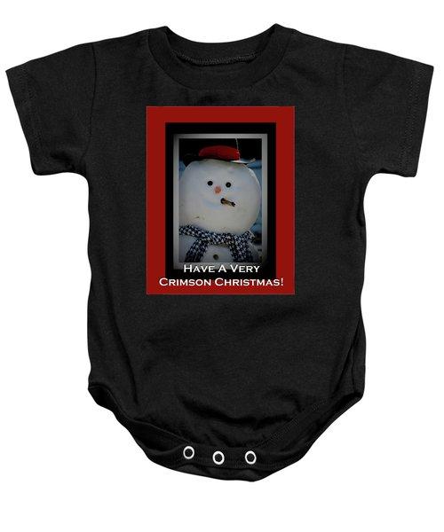 Crimson Christmas Snowman Baby Onesie