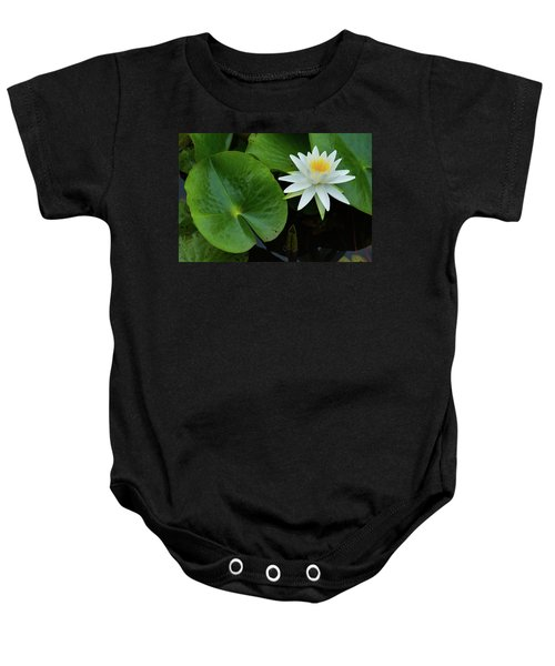Crisp White And Yellow Lily Baby Onesie