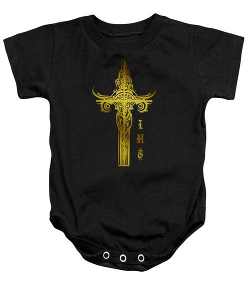 Cross Ihs Gold Baby Onesie