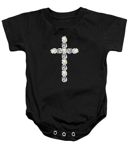 Cross Of Silver And White Roses Baby Onesie