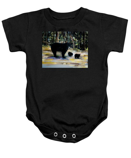 Cubs With Momma Bear - Dreamy Version - Black Bears Baby Onesie