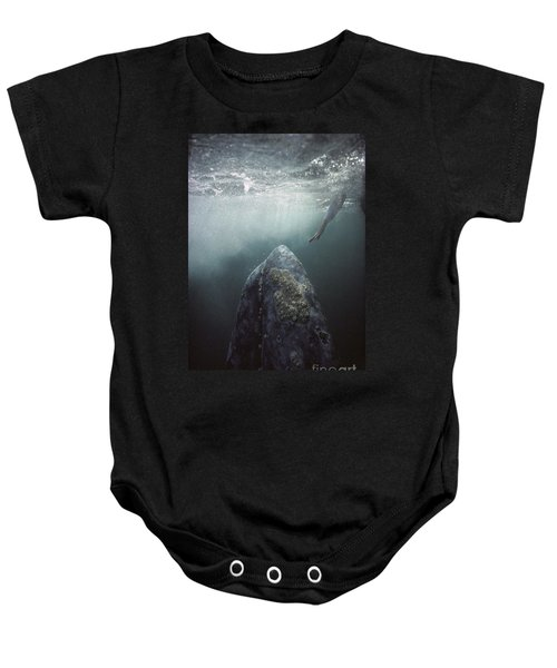 Curious Gray Whale And Tourist Baby Onesie