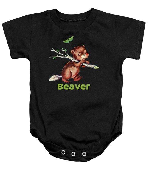 Cute Baby Beaver Pattern Baby Onesie