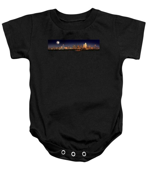 Dallas Skyline At Dusk Big Moon Night  Baby Onesie by Jon Holiday