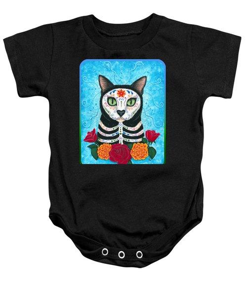 Day Of The Dead Cat - Sugar Skull Cat Baby Onesie