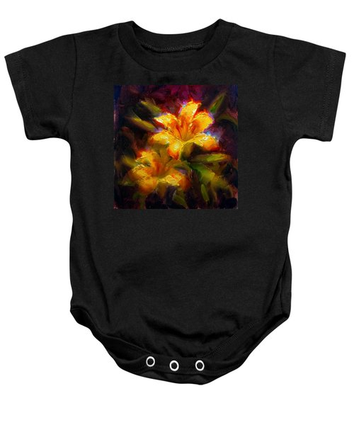 Daylily Sunshine - Colorful Tiger Lily/orange Day-lily Floral Still Life  Baby Onesie