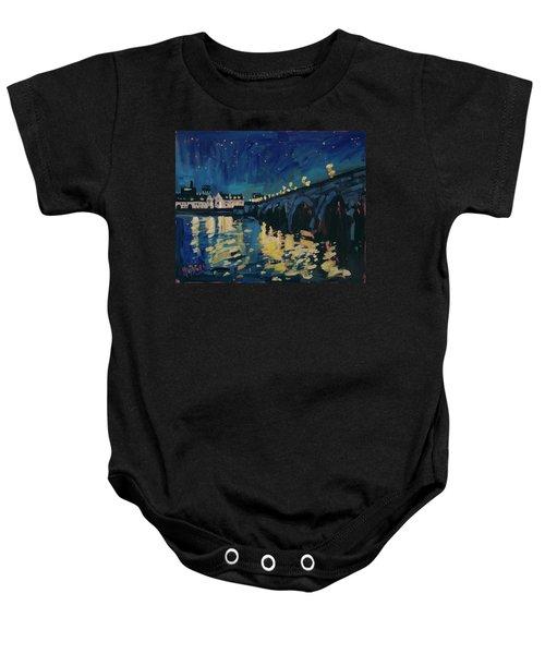December Lights At The Old Bridge Baby Onesie