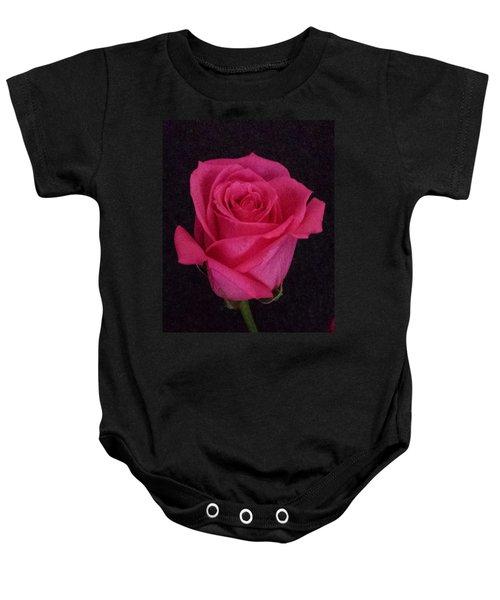 Deep Pink Rose On Black Baby Onesie