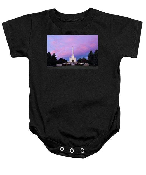 Denver Lds Temple At Sunrise Baby Onesie