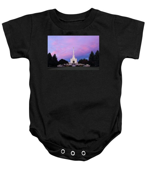 Denver Lds Temple At Sunrise Baby Onesie
