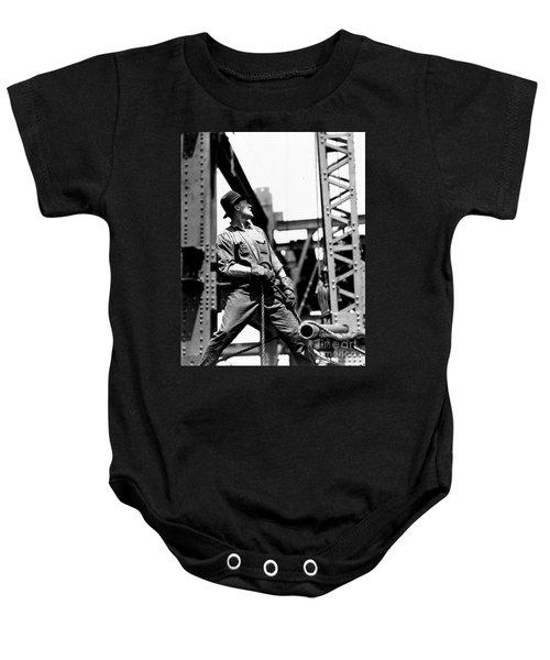 Derrick Man   Empire State Building Baby Onesie by LW Hine