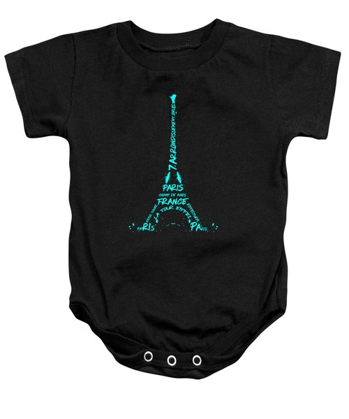 Digital-art Eiffel Tower Cyan Baby Onesie by Melanie Viola