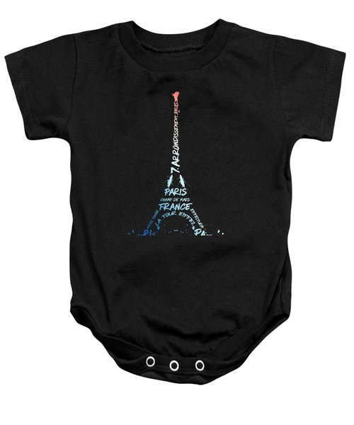 Digital-art Eiffel Tower National Colours Baby Onesie by Melanie Viola