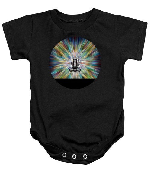 Disc Golf Basket Silhouette Baby Onesie by Phil Perkins