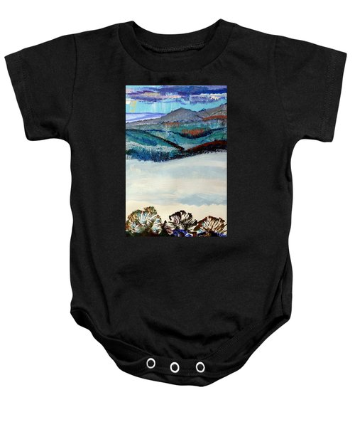 Distant Hills And Mist In The Lowlands Landscape Baby Onesie