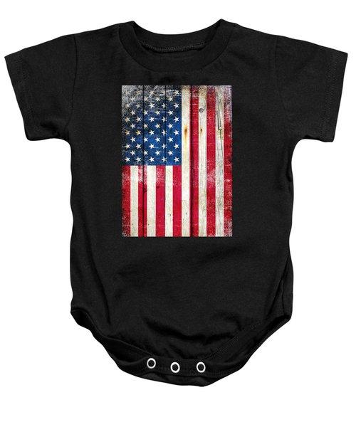 Distressed American Flag On Wood - Vertical Baby Onesie