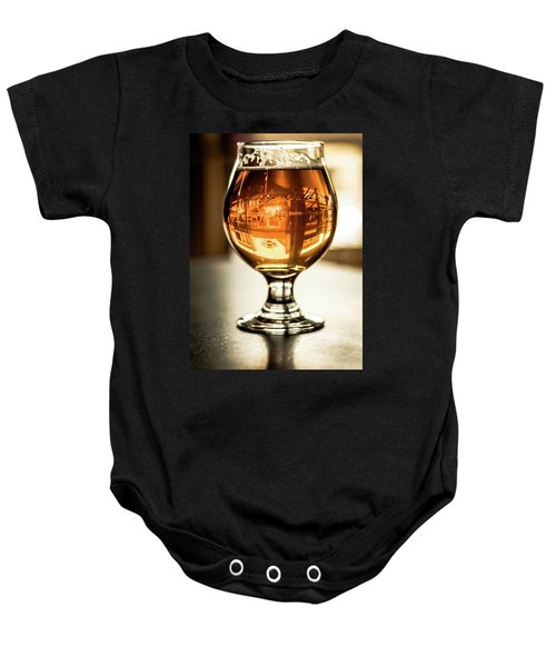 Downtown Waukesha Through A Glass Of Beer At Bernie's Taproom Baby Onesie