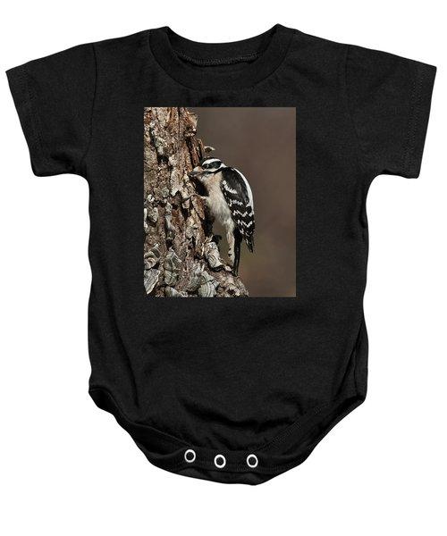 Downy Woodpecker's Secret Stash Baby Onesie