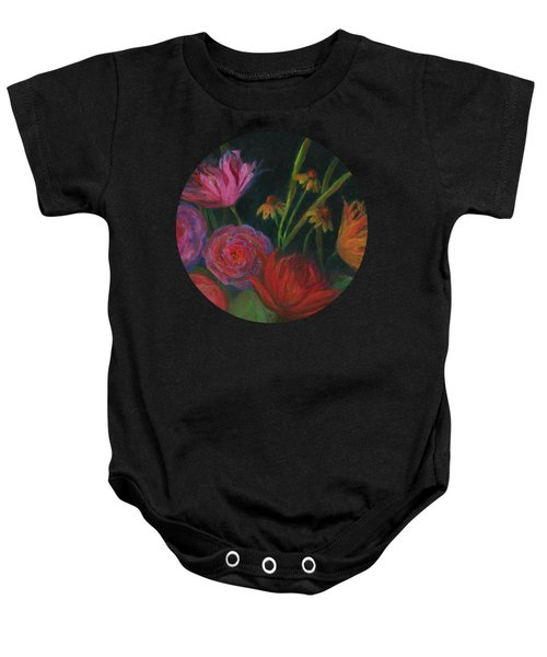 Dramatic Floral Still Life Painting Baby Onesie