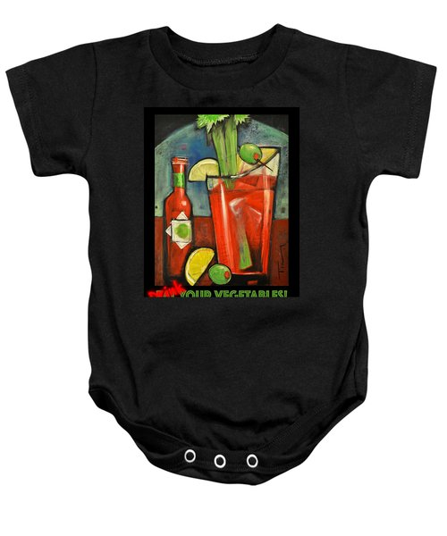 Drink Your Vegetables Poster Baby Onesie by Tim Nyberg