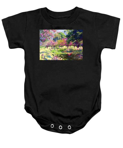 Echoes From Heaven, Spring Orchard Blossom And Pheasant Baby Onesie by Jane Small