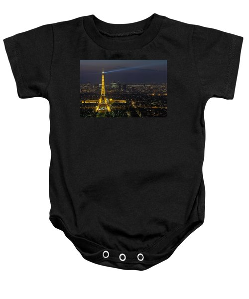 Eiffel Tower At Night Baby Onesie by Sebastian Musial