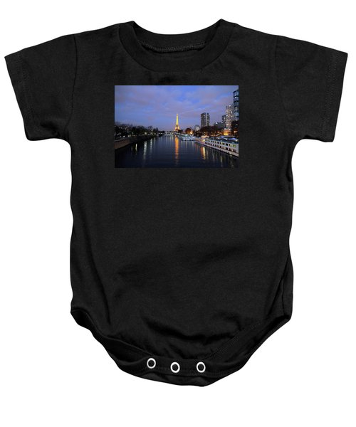 Eiffel Tower Over The Seine Baby Onesie
