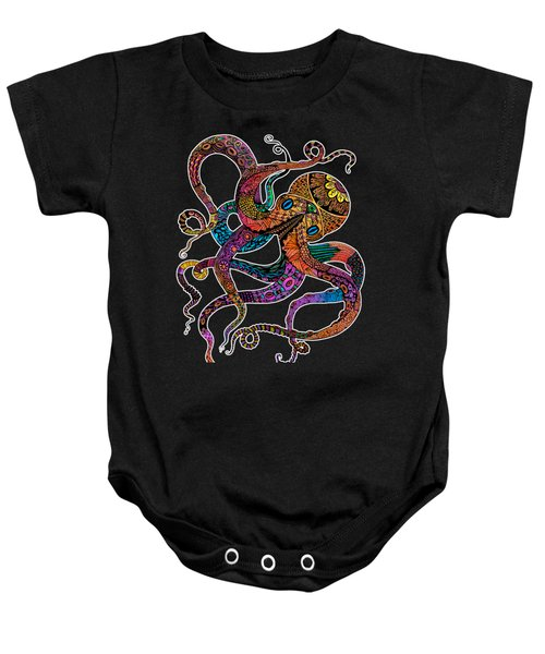 Electric Octopus On Black Baby Onesie