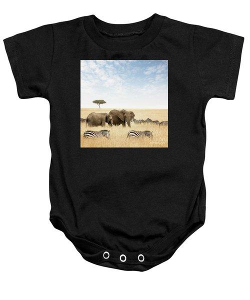 Elephants And Zebras In The Masai Mara Baby Onesie