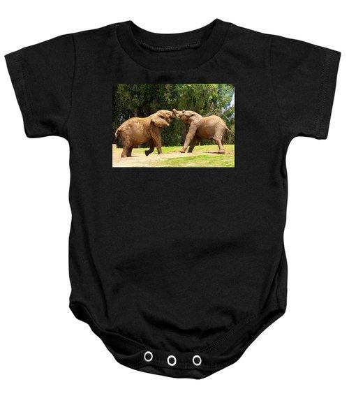 Elephants At Play 2 Baby Onesie