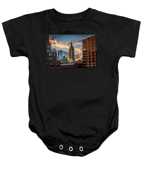 Empire State Building Sunset Rooftop Baby Onesie