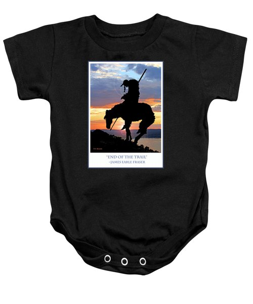 End Of The Trail Sculpture In A Sunset Baby Onesie