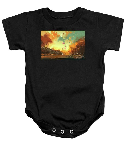 Baby Onesie featuring the painting Enter The Fantasy Land by Tithi Luadthong