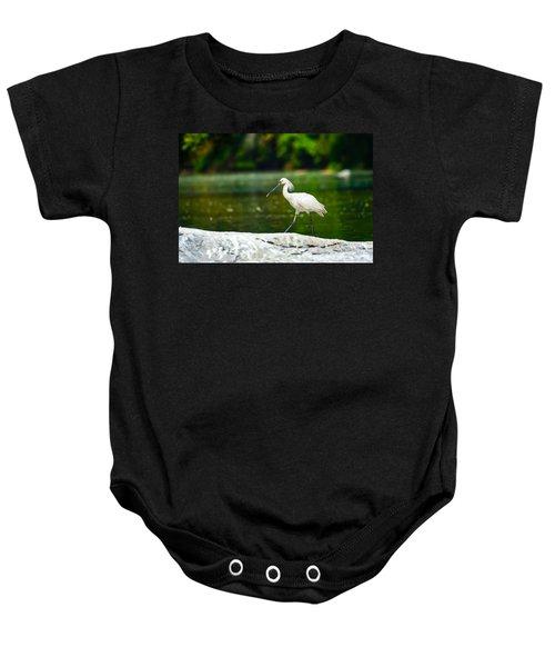 Eurasian Spoonbill Walking On The Riverside. Baby Onesie by Nila Newsom
