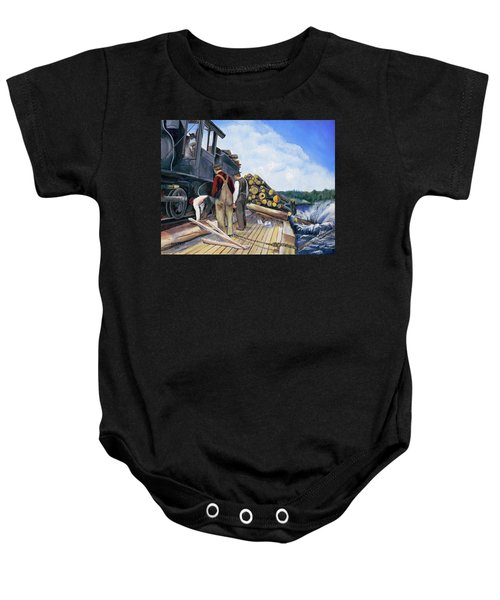 Fall Lake Train Baby Onesie