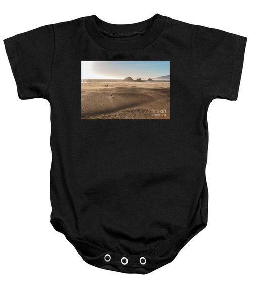 Family Walking On Sand Towards Ocean Baby Onesie