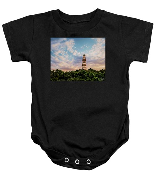 Far Distant Pagoda Baby Onesie