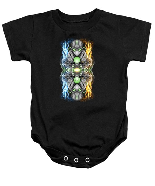 Fire And Ice Alien Time Machine Baby Onesie