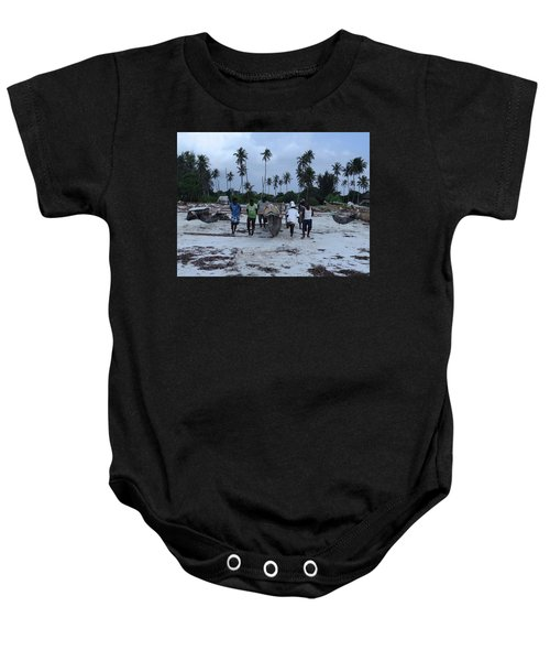 Fisherman Heading In From Their Days Catch At Sea With A Wooden Dhow Baby Onesie