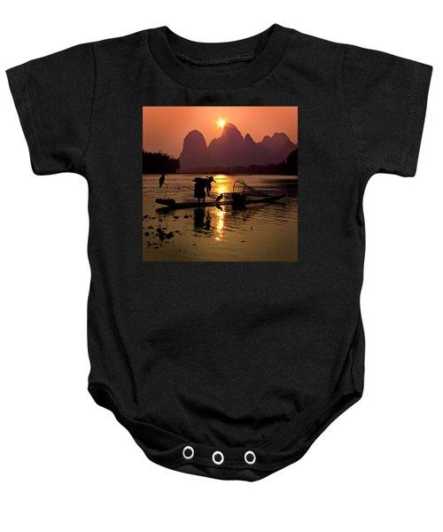 Fishing With Cormorants Baby Onesie