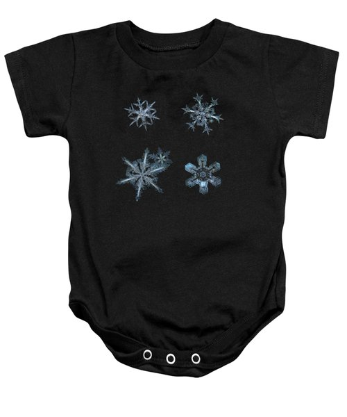 Five Snowflakes On Black 3 Baby Onesie