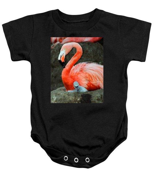 Flamingo And Baby Baby Onesie