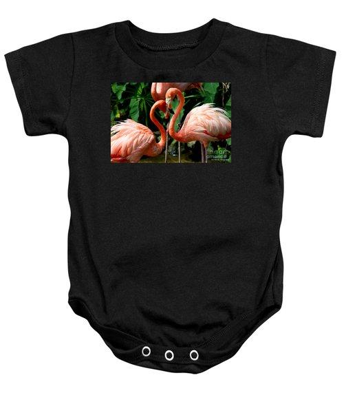 Flamingo Heart Baby Onesie