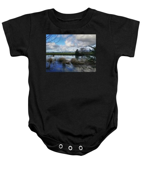 Flooding River, Field And Clouds Baby Onesie