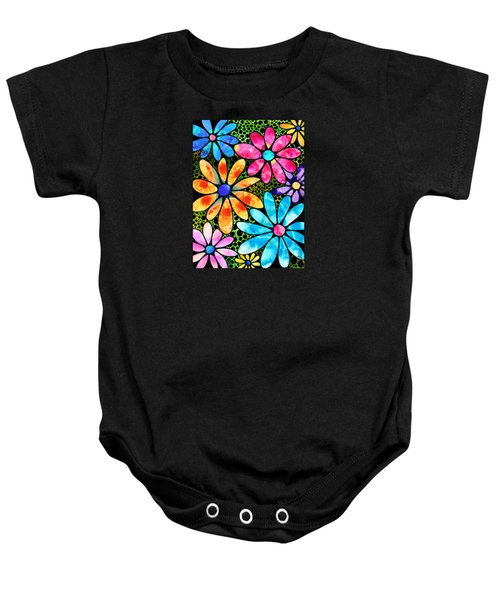 Floral Art - Big Flower Love - Sharon Cummings Baby Onesie by Sharon Cummings