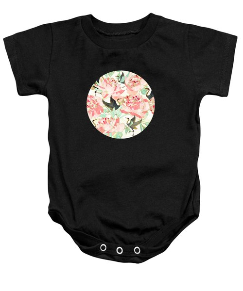 Floral Cranes Baby Onesie
