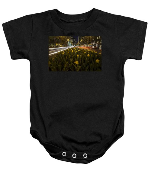 Flowers At Night On Chicago's Mag Mile Baby Onesie