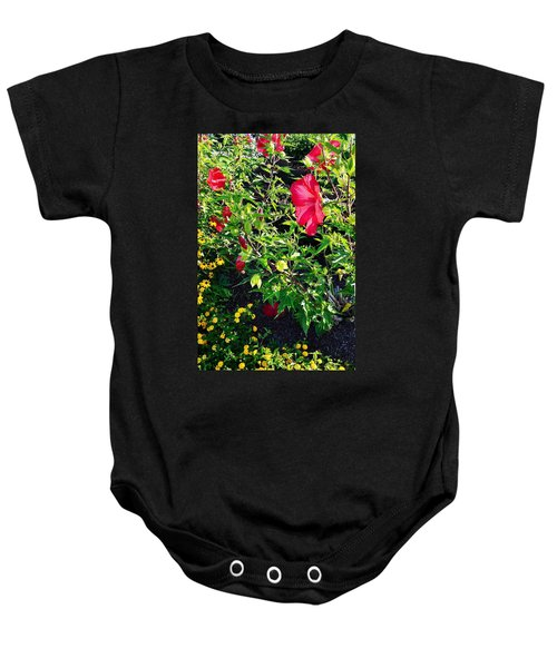 Flowers Of Bethany Beach - Hibiscus And Black-eyed Susams Baby Onesie