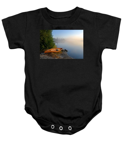 Foggy Morning On Spice Lake Baby Onesie